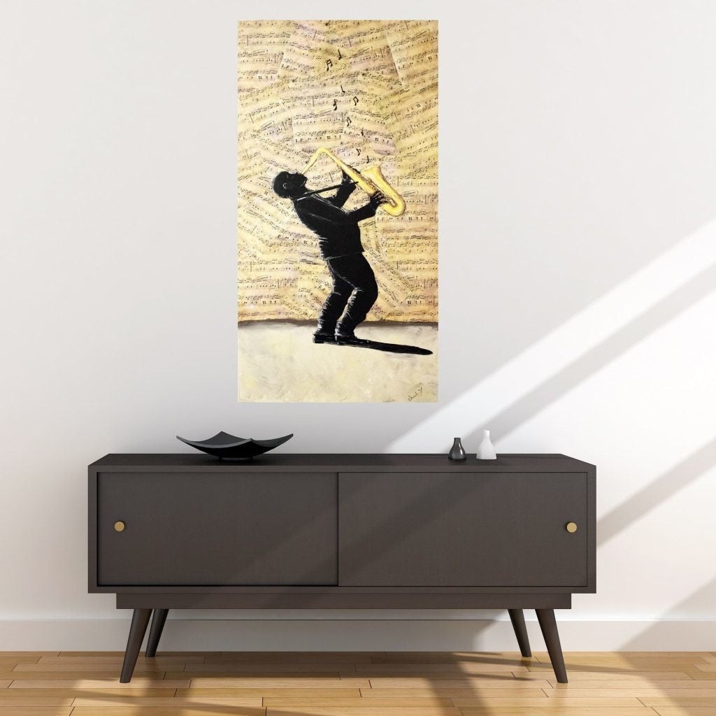 Sax Man Fabric Wall Poster - C.W. Art Studio