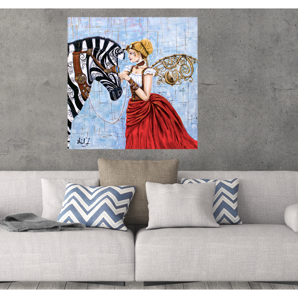Steampunk Angel & Zebra Giclée Art Print - Artist Signed Matted