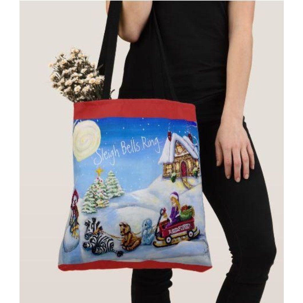 Tote Bag - Christmas 2017 Sleigh Bells Ring... - Large (18X18) - Tote Bags C.w. Art Studio