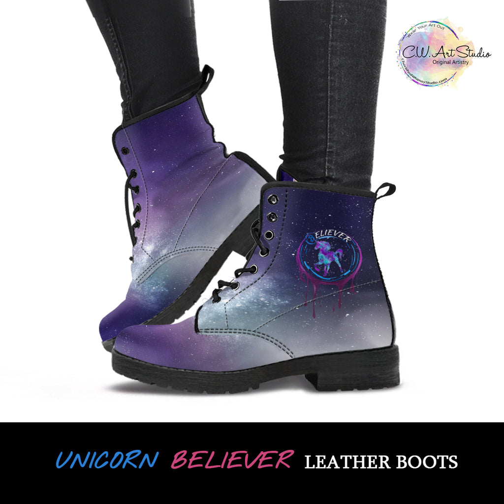 Unicorn Believer Leather Boots by SophieStar