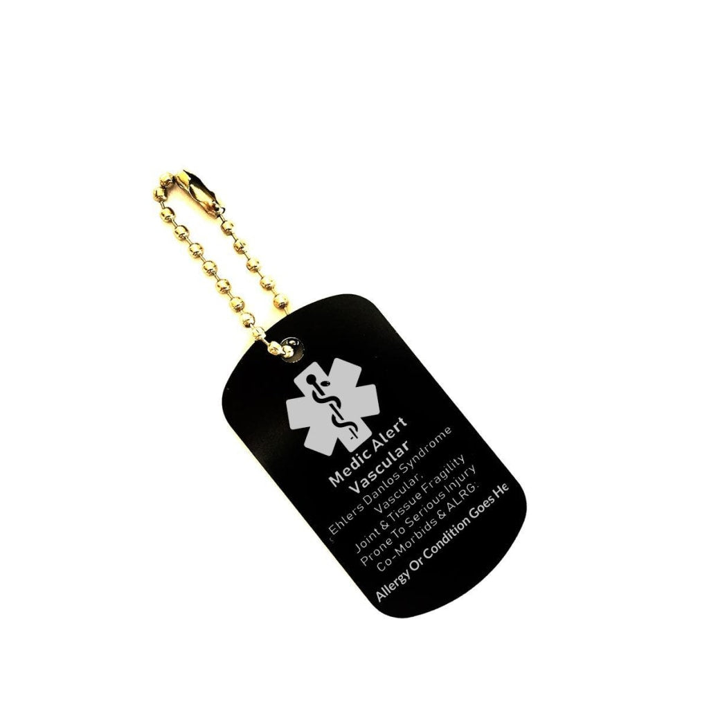 Vascular EDS Medical Alert Dog Tag Key Chain Customizable - C.W. Art Studio