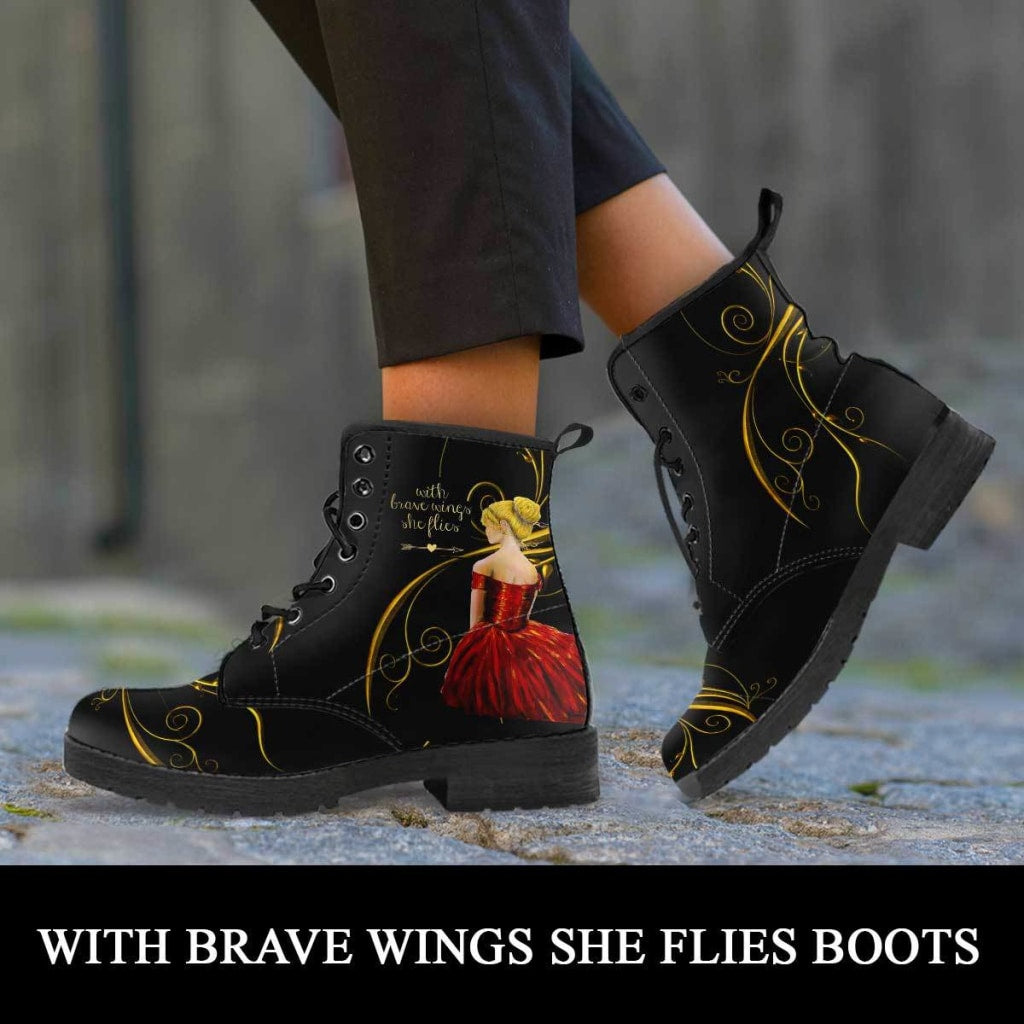 With Brave Wings She Flies II Boots - C.W. Art Studio