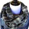 Aqua, Gray, Black, & White Plaid Flannel Infinity Scarf