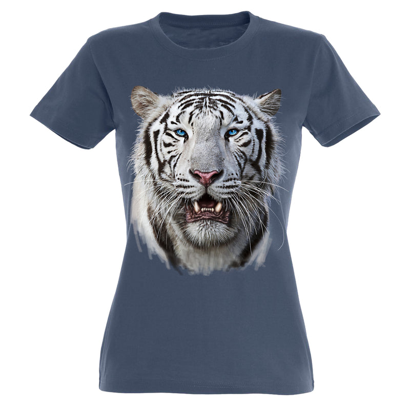 White Tiger Head T-Shirt Women