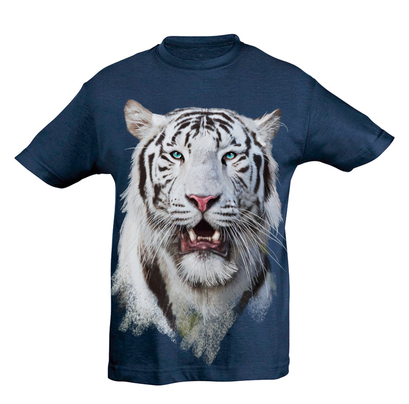 White Tiger Head T-Shirt Kids