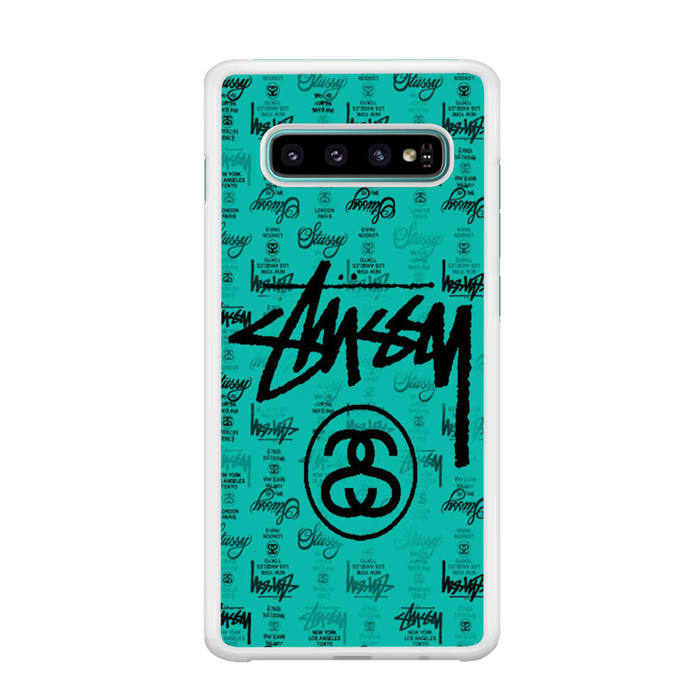 Stussy Ocean Blue Wallpaper Samsung Galaxy S10 Plus Case Arocasestore