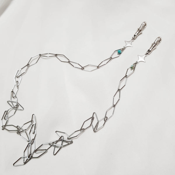Long Silver chain, Mask Rhombus Chain, Dana Mantzur