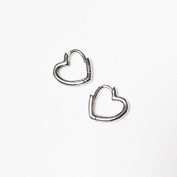 Minimal Heart huggies, Heart Hoops - Small, Dana Mantzur