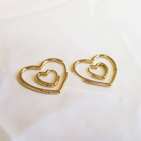 2 hoop pair earrings, Heart hoops set, Dana Mantzur