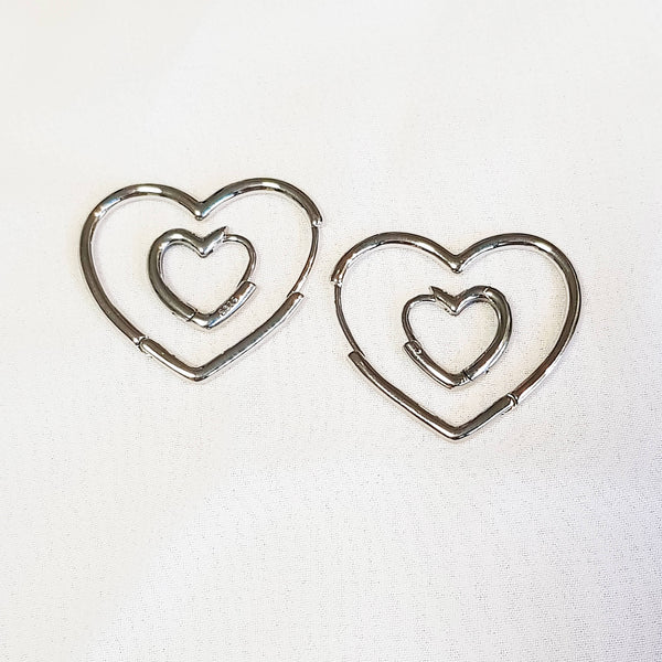 Gift idea for her, Heart hoops set, Dana Mantzur