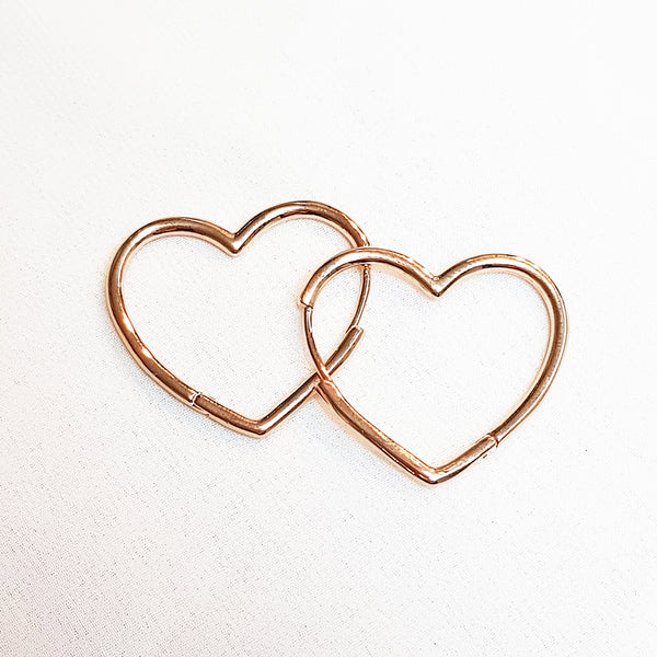 Rose gold hoop earrings Heart Hoop Earrings, Dana Mantzur