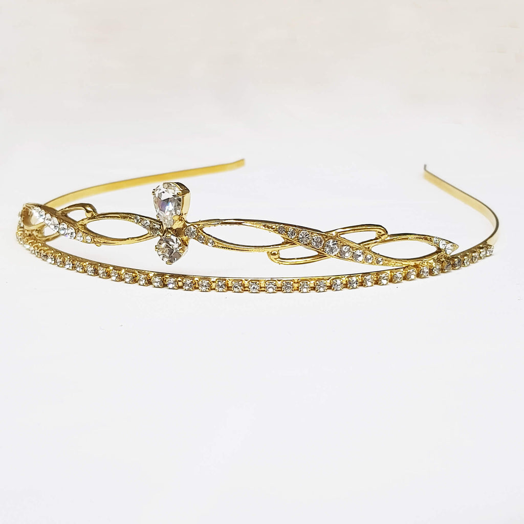 Gold crystal crown, Goddess Tiara, The Lady Bride