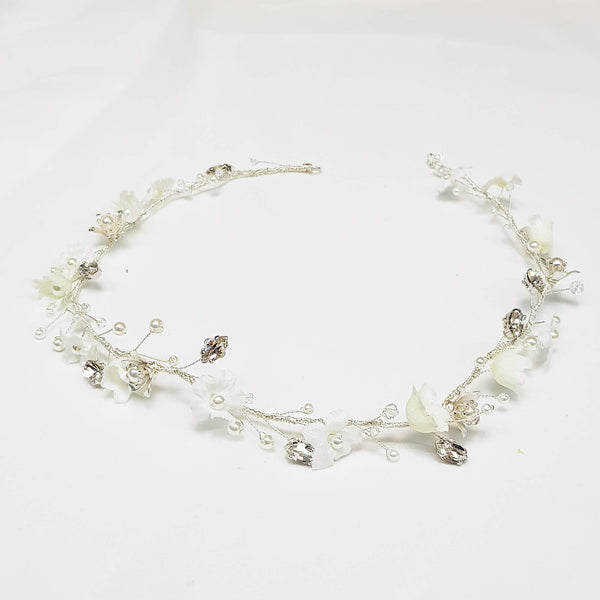Silver white flower hair piece, Sofia hair wreath, The lady bride