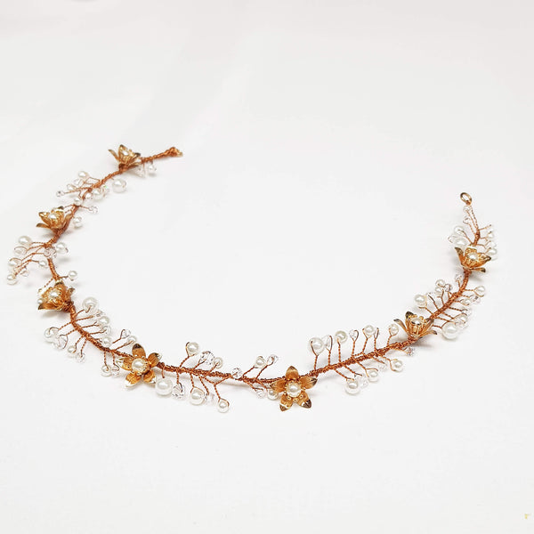 Rose gold headpiece, Lihini Hair wreath delicate, The lady bride