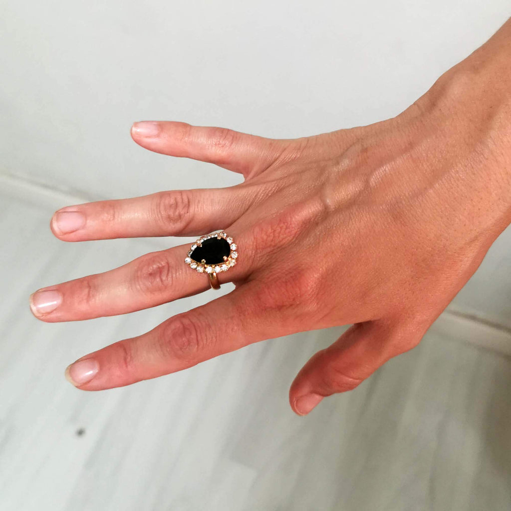 Black ring | drop ring | The Lady Bride