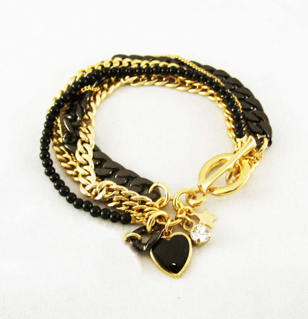 Black and gold Bracelet, Iris bracelet, The Lady Bride