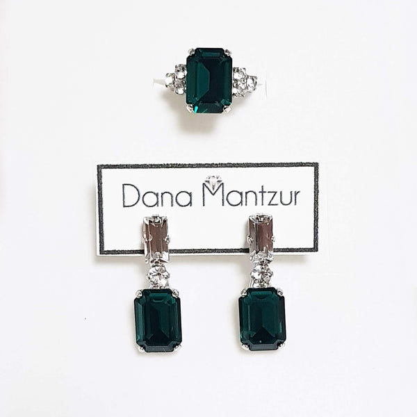 Emerald jewelry set, Colorful set - Elizabeth ring & Belle earrings, Dana Mantzur