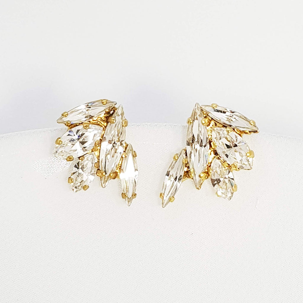 Gold CZ earrings, Shira Earrings - Medium, The Lady bride