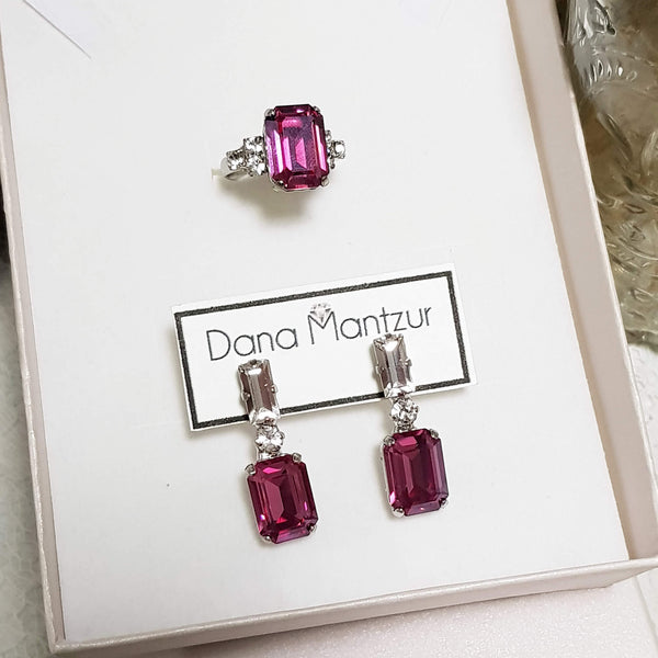 Fuchsia jewelry set,Colorful set - Elizabeth ring & Belle earrings, Dana Mantzur