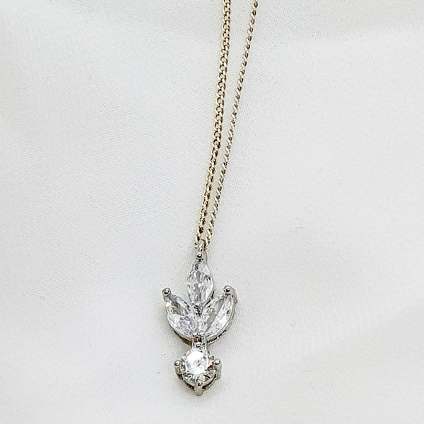 CZ silver necklace, Fleur de lis Necklace, The Lady bride