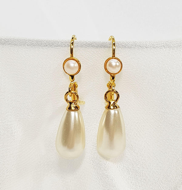 Gold drop earrings, Teardrop Pearl Earrings, The Lady Bride