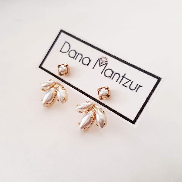 Rose gold pearl ear jackets, Dana Mantzur