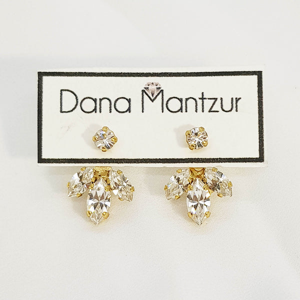 Gold front back earrings, Baby Roko Ear Jackets - Small, Dana Mantzur