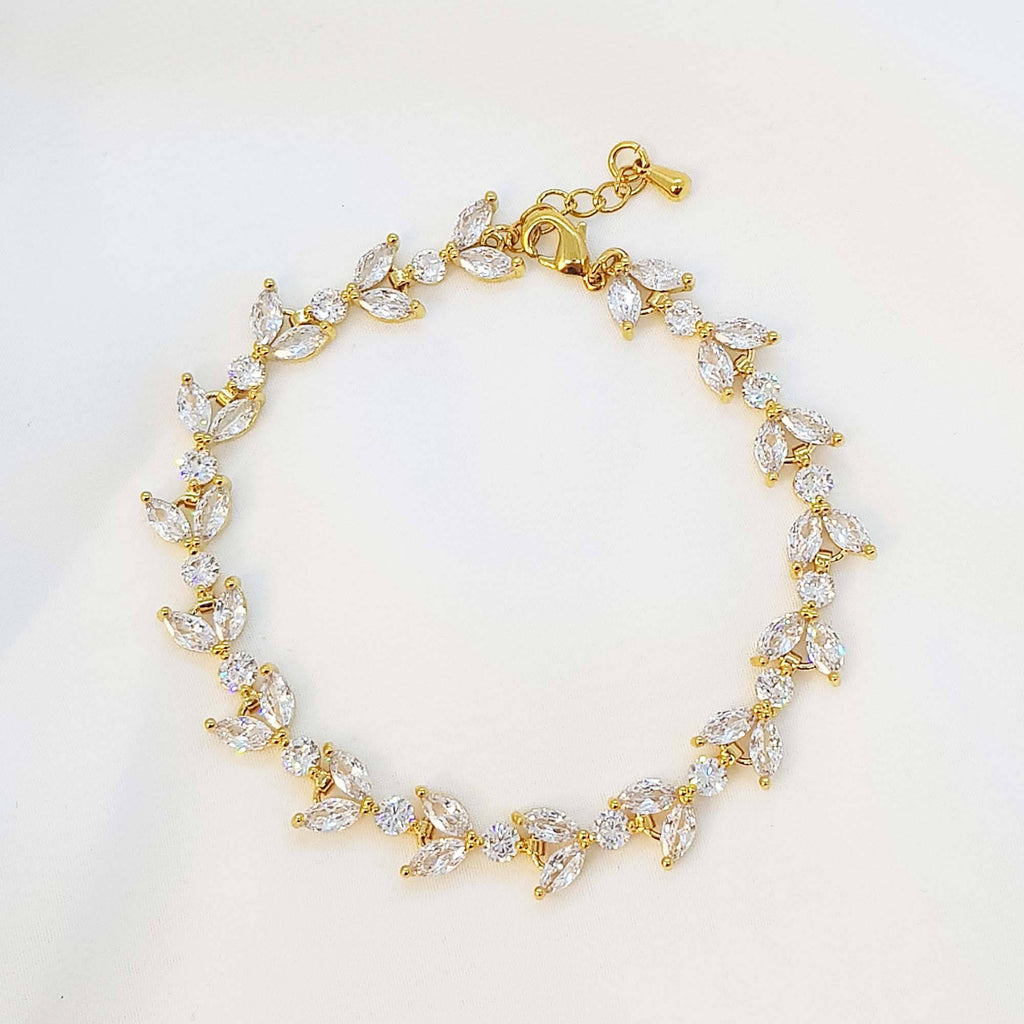 Gold Zirconia bracelet, Leaves Bracelet, The Lady Bride