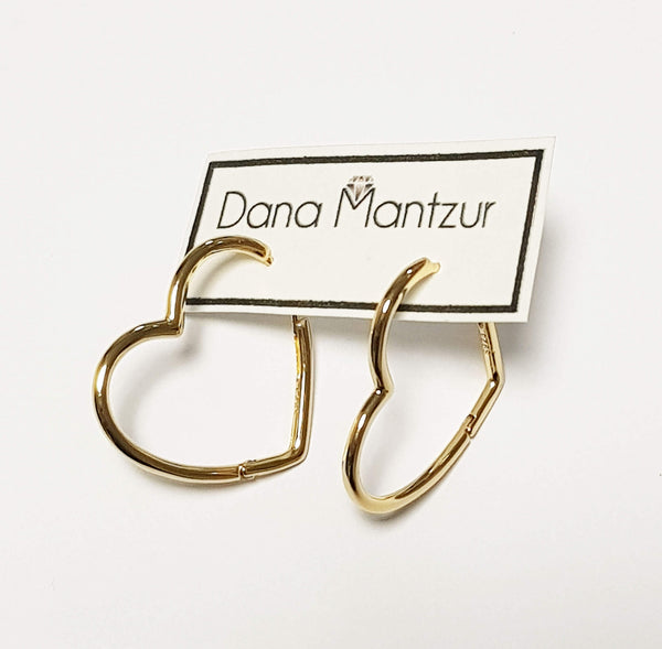 Gold hoops Heart Hoop Earrings, Dana Mantzur