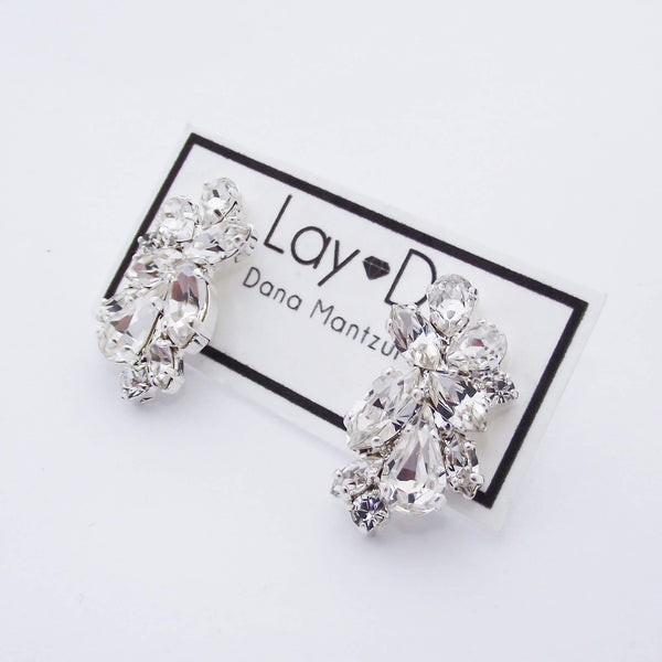 Bridal cluster earrings