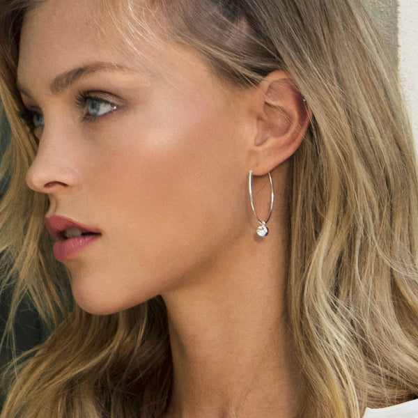 Sterling Silver Hoops, Boho earrings, Dana Mantzur