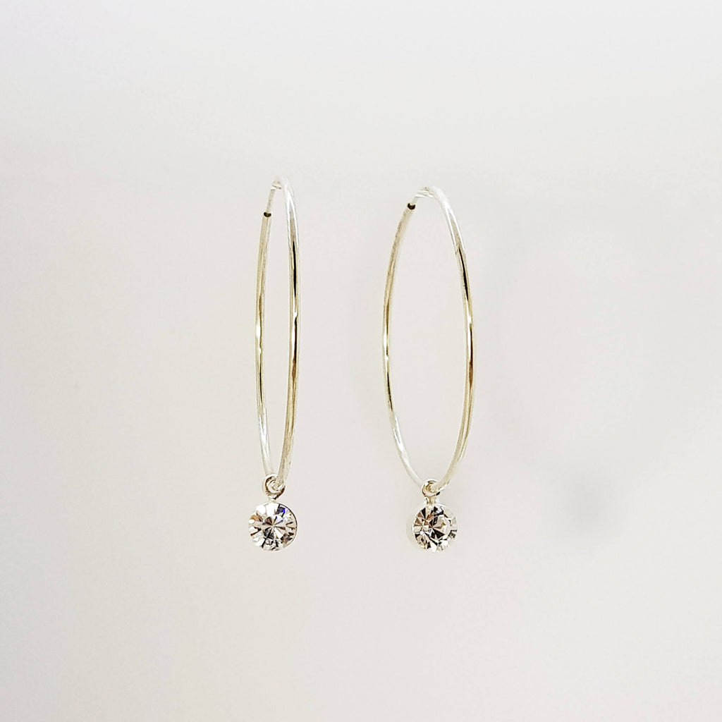 Sterling Silver Hoops, Bohemian hoop earrings, Dana Mantzur