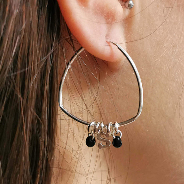 Initial Silver Hoops, Boho initial hoop earrings, The Lady Bride