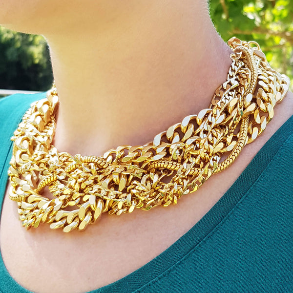 Large layered gourmet necklace, Billy Necklace, Dana Mantzur