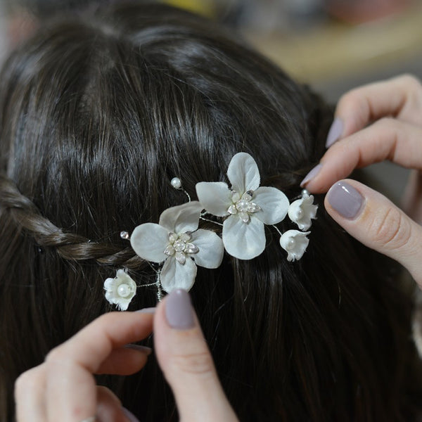 Silver hair comb, Ruth Floral Hair clip, The Lady Bride