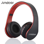 Over Ear Headphone, Andoer LH-811 Wireless Stereo Bluetooth 4.1 Earphone Headset Mic MP3 Player TF Music FM with 3.5mm Audio Cord for Smart Phones Tablet PC Notebook(Red)
