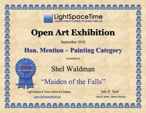 "Honorable Mention "" Maiden of the Falls"" Native Artwork by Shel Waldman Award"