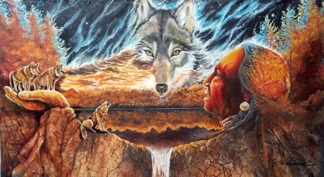Greeting The Great Wolf Original Painting Art