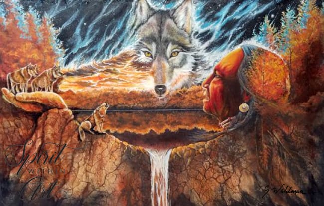 Greeting The Great Wolf Art