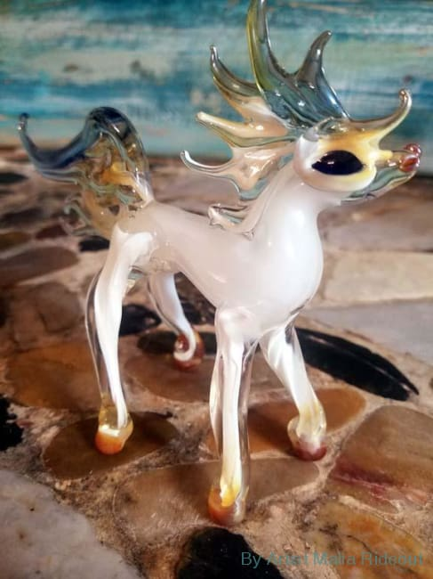 White Dream Horse-Hand Blown Glass Sculpture