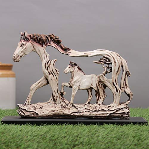 Fengshui Vastu Galloping Horse Showpiece with Wooden Plate