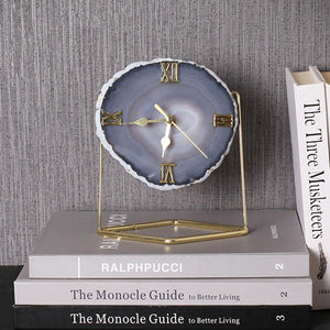 Creative Light Luxury Golden Agate Stone Clock