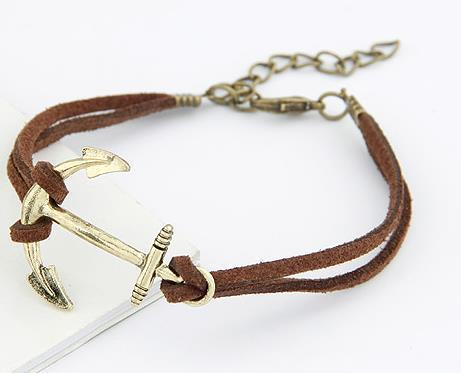 Leather Chain Link Anchor Bracelet