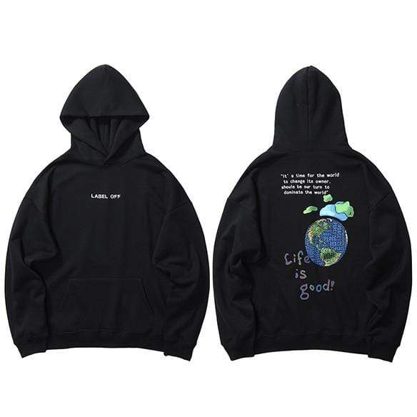 Hallyu Street Hoodies Noir / L HOODIE LIFE IS GOOD™