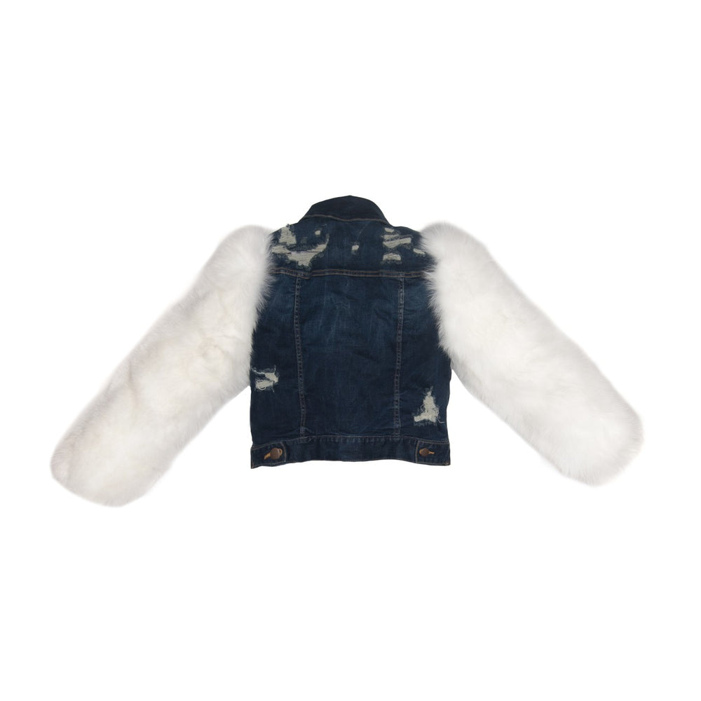 WHITE ARTIC & DARK BLUE DENIM JACKET