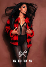 BLACK & RED CROSS MINK JACKET