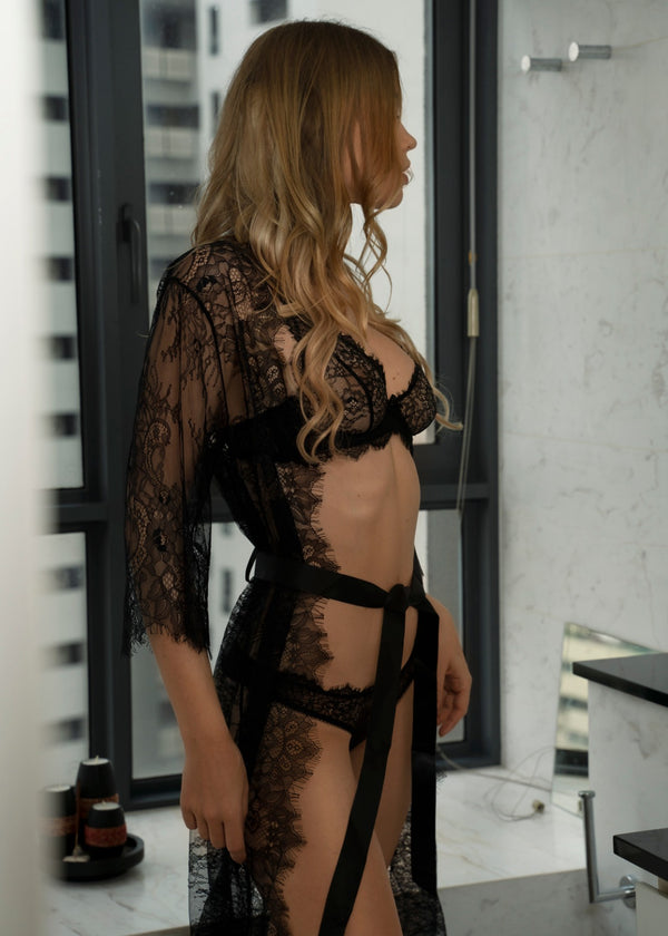 CANDACE BLACK LACE ROBE - Innate Intimates