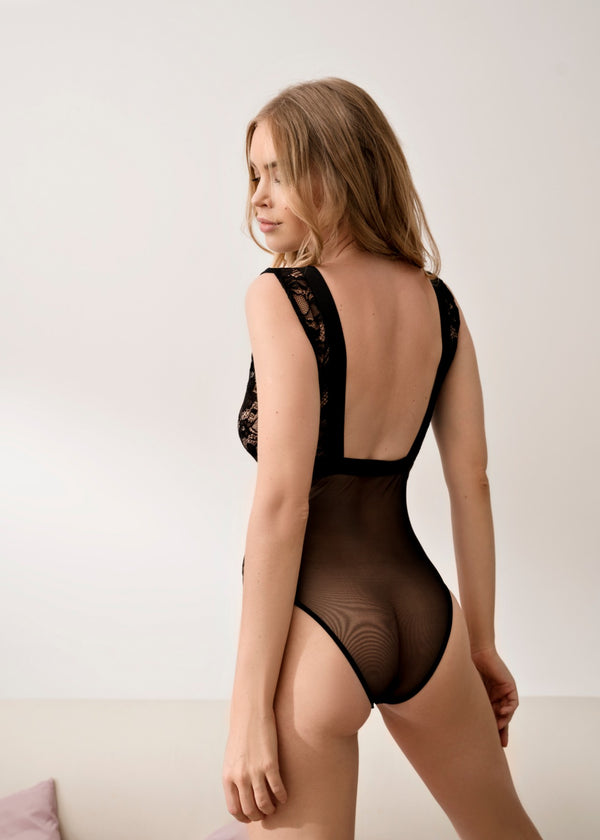 MARILYN V NECK PLUNGE BODYSUIT - Innate Intimates
