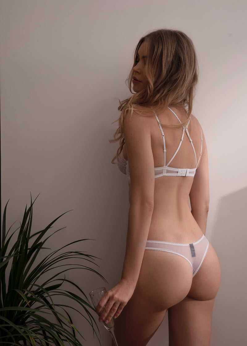 CANDACE WHITE SHEER LACE THONG
