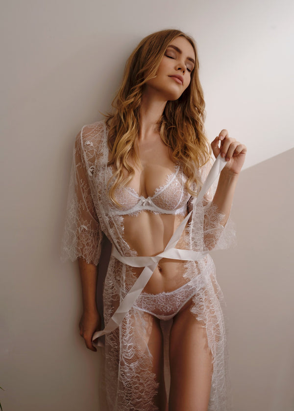 CANDACE WHITE LACE ROBE - Innate Intimates